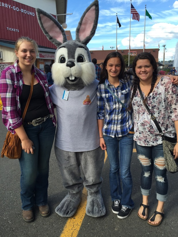 Guernsey Girls Savannah, Taryn and Sarah with a big bunny.